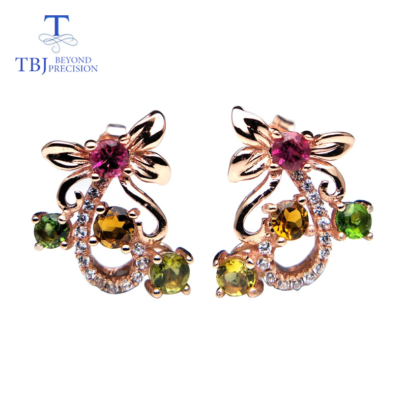 TBJ Natural multicolor tourmaline gemstone round 3 0mm small flower earring 925 sterling silver fine jewelry
