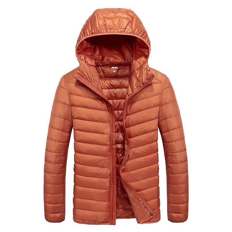 2019 зимние куртки мужские Осень 90% белого утиного пуха зимнее пальто Для мужчин Сверхлегкий Теплый пуховик Куртка с капюшоном мальчиков ветрозащитные парки