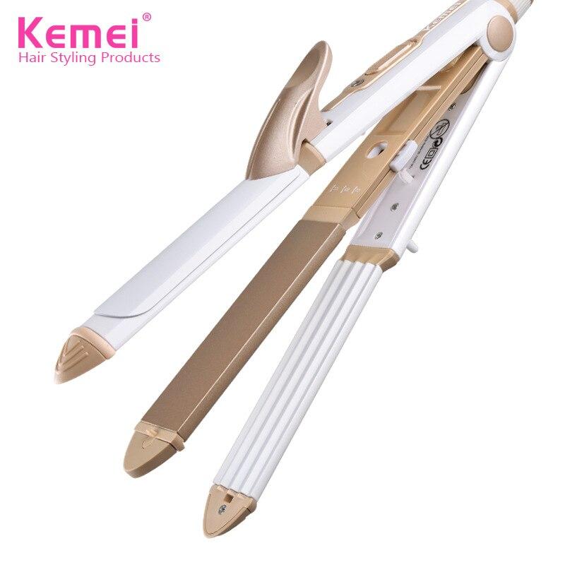 Kemei 110-240V 3 In 1 Professionals Tourmaline Ceramic Hair Straightener Straightening Corrugated Iron Hair Curler Styling Tools цена