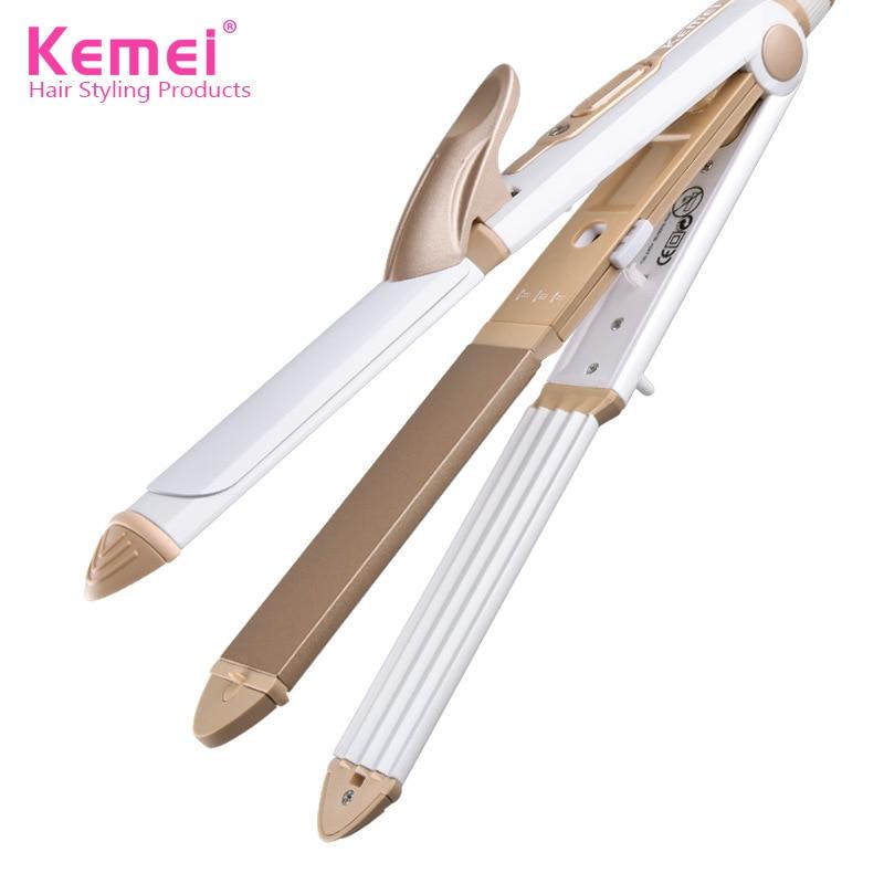 Kemei 110-240V 3 In 1 Professionals Tourmaline Ceramic Hair Straightener Straigh
