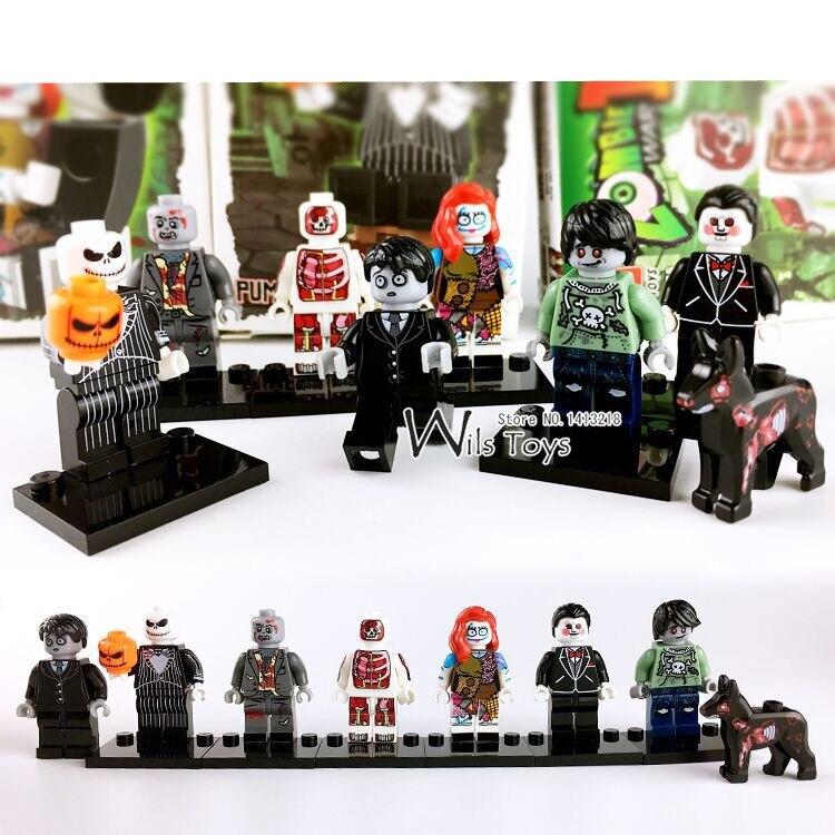 6pcs Zombie Jack Skellington Ghost Horror Theme Movie Building Blocks Bricks Figures Halloween Educational font b