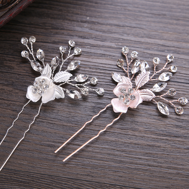 New Trendy Rose Gold Silver Hairpin Stick Bridal Hair Clips For Women Crystal Fl