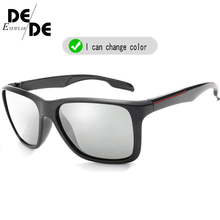 Hot Sale Photochromic Sunglasses Men Polarized Chameleon Discoloration Sun Glasses For Fashion Square Driving Accessories