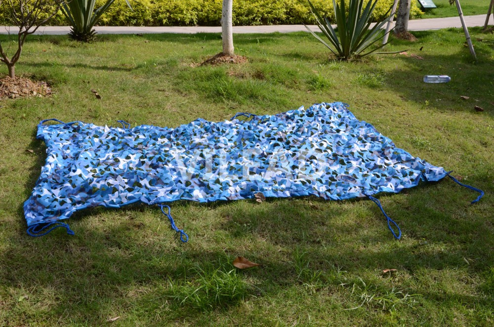 VILEAD 2.5M*8M Filet Camouflage Netting Blue Camo Netting For Beach Awning Shading Garden Party Room Decoration Sunshade цена 2017