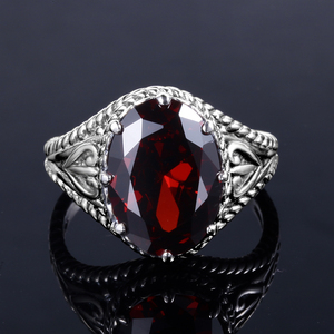Image 5 - Szjinao Red Garnet Ring Vintage Oval Gemstone Rings For Women 925 Sterling Silver Wedding Enagement Anniversary Turkey Jewelry