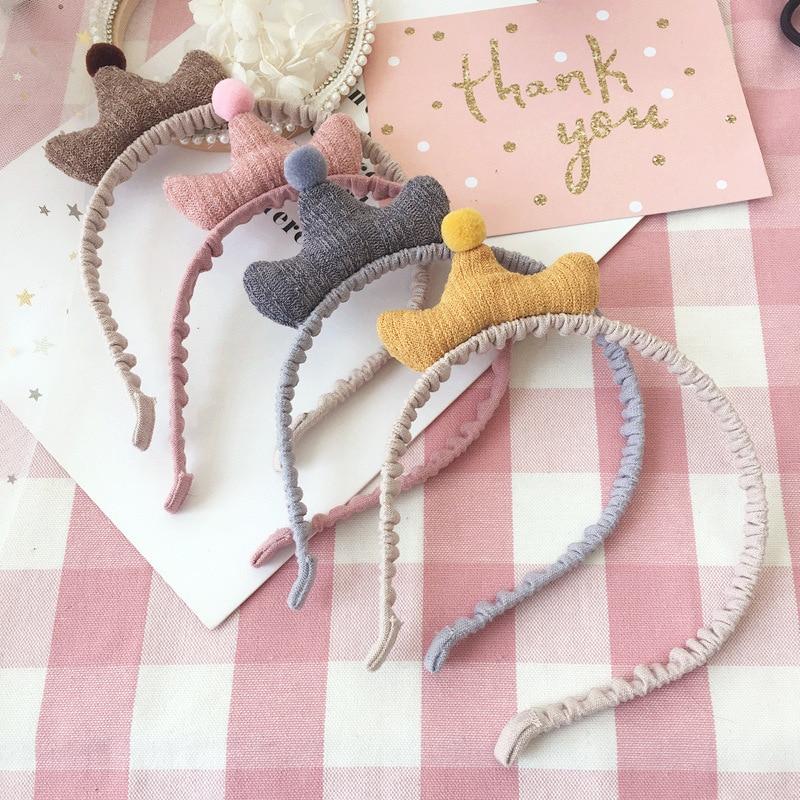 Girls Knitting Crown Hairbands Headband Kids Cute Princess Colorful Hair Ball Hair Band hair Hoop   headwear   hair accessories