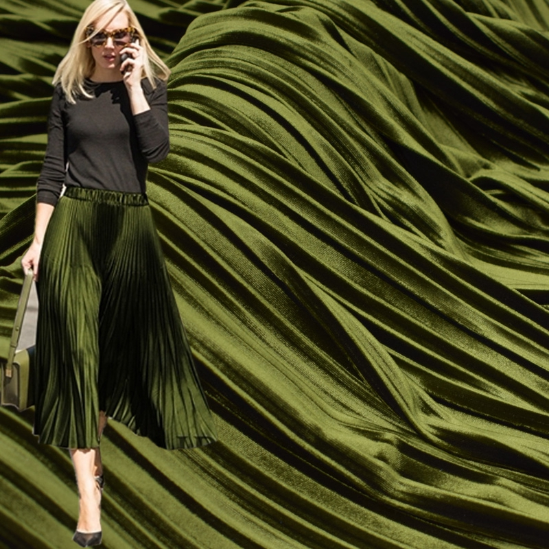 2017 New Fashion Hot Sale Metallic Olive Green Fold Pleuche Fabric For Pleated Skirt Tissu Au Meter Bright Cloth DIY Tissus Tela
