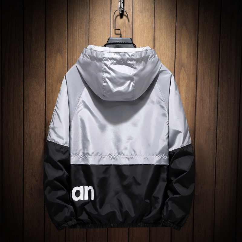 Herfst Winter Jas Mannen Dunne Patchwork Jas Jas Merk 2019 Streetwear Kleding Windjack Man Hip Hop Hooded Bomber Jacket