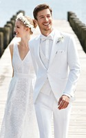 Tailor Made White Wedding Suits For Men Slim Fit Formal Groom Prom Blazer 3 Piece Tuxedo Beach Summer Jacket +Pant +Vest Terno