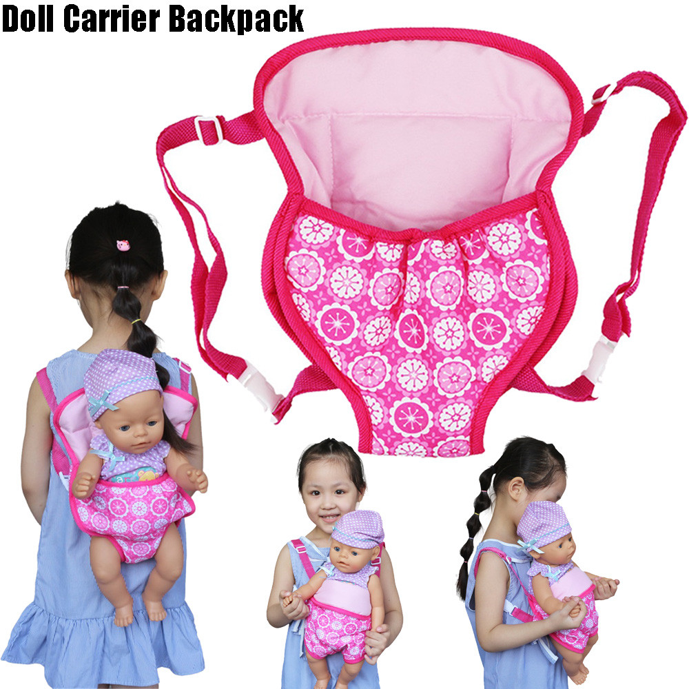 купить Kids School Bag Backpack Schoolbag Doll Toys for Children Carrier Bag Flower Design for 18 inch American Girl Doll Accessories по цене 324.6 рублей