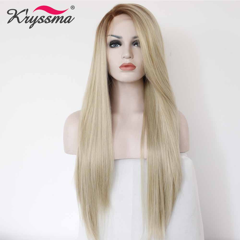 Perruque avant en dentelle synthétique Blonde perruques longues droites pour femmes perruque Ombre racines brunes perruque Blonde légère 22