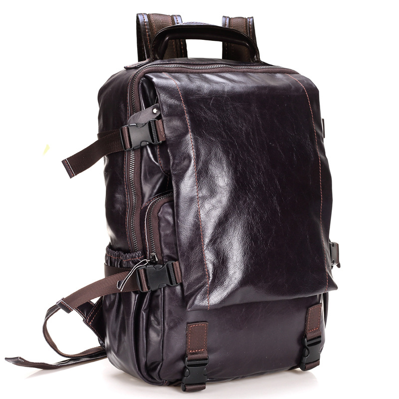 Backpack Men's Computer Bag Cow Leather Backpack Business Travel Large Capacity Travel Bag Retro Student Bag kujing backpack high quality jig wear wear denim large capacity student bag free shipping retro travel multi purpose backpack