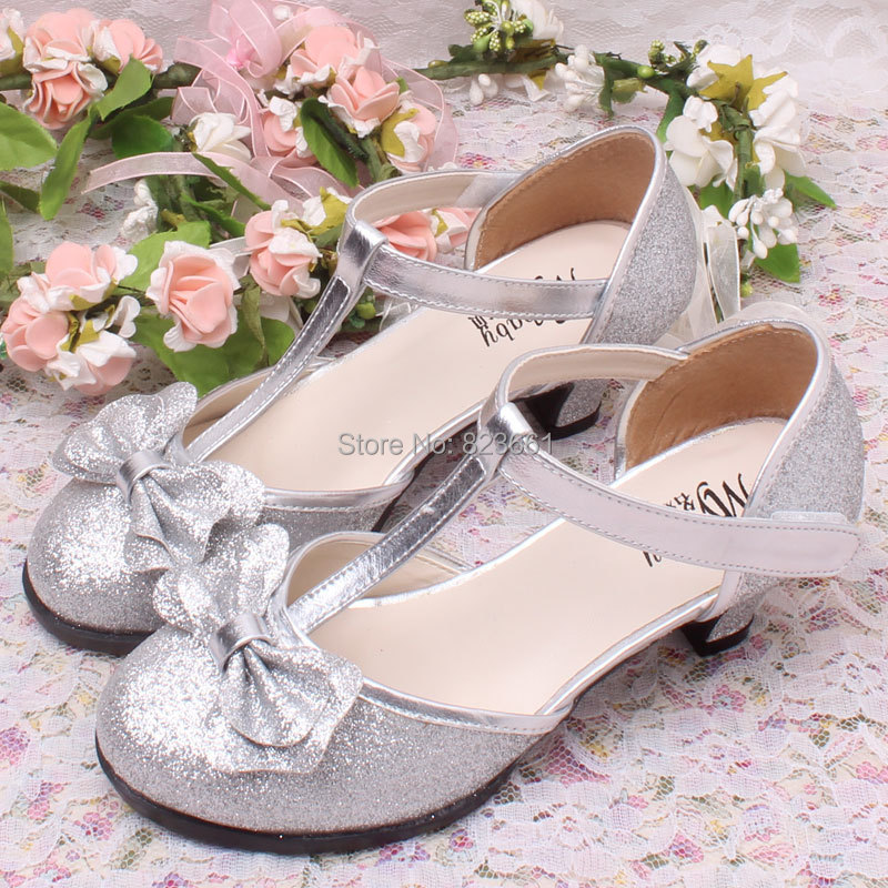 2bc150b52e3 Shining Glitter Bow Children Shoes Girls Princess for Dress with ...