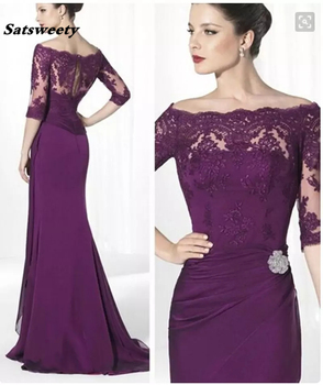 Formal Purple Lace Mother Of Bride Dresses With Sleeves Off The Shoulder Elegant Lady Sheath Long Chiffon Custom Made Party Prom purple off the shoulder bell sleeves mini dresses with belt