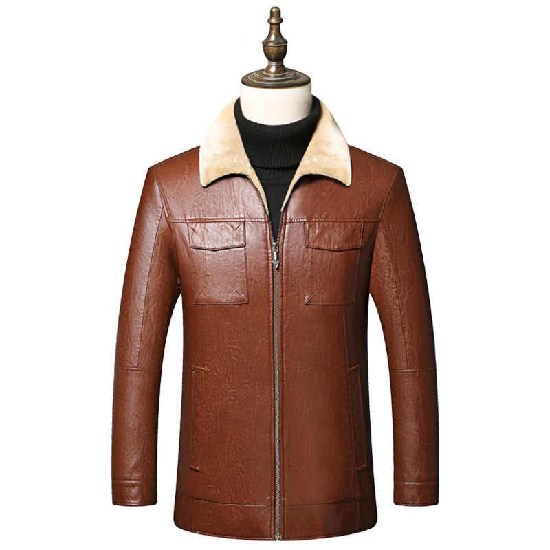 QUANBO 2019 новинка осень зима мужские кожаные куртки высокое качество шерстяное пальто с мехом модные повседневные Бархатные Теплые кожаные куртки черный