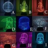 1Piece 3D Wood Skull Mood Lamp Darth Vader Bulbing Light USB Baymax Table Lamp Ironman Bumblebee