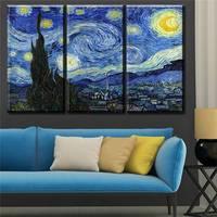 3 Pcs Vincent Van Gogh Starry Night C 1889 Art Wall Picture Room Canvas Print Modern