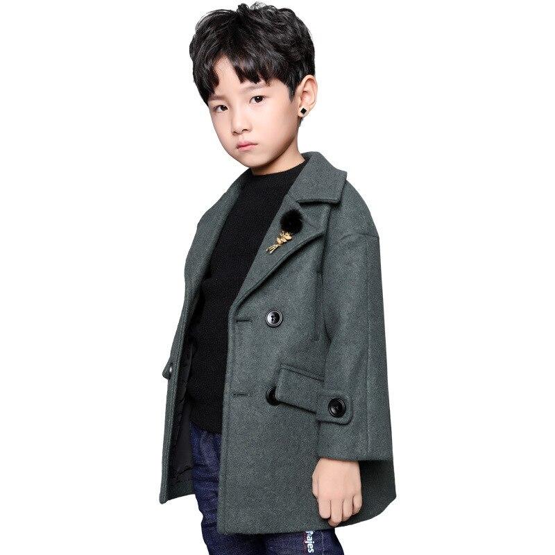 2018 automne et hiver nouvelle veste vêtements pour enfants manteau de laine garçon coréen costume de section longue manteau de laine 18M03