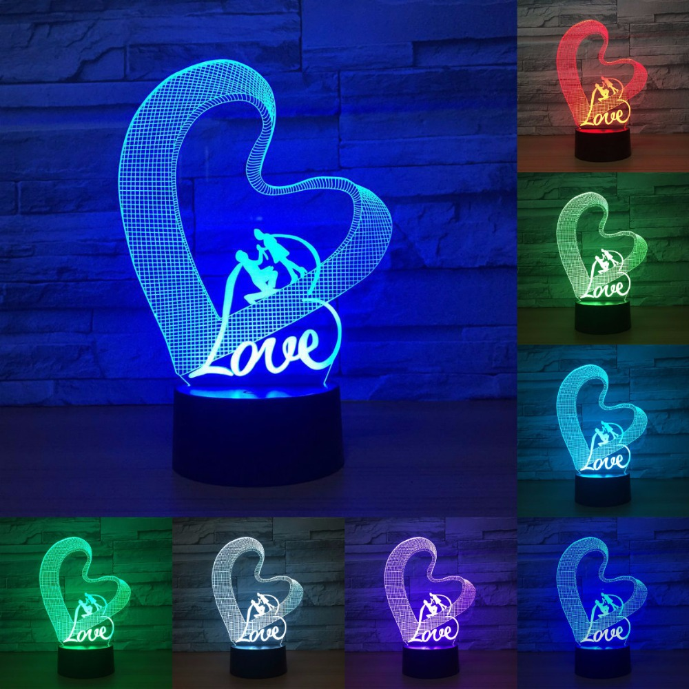LED Night Lights 3D Lamp Nightlight Love Heart Acrylic Discoloration Colorful Atmosphere Lamp Novelty Lighting IY803736