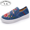 Vintage Embroidery Women Flats Shoes Phoniex Embroidered Casual Canvas Platform Loafers Ladies Slip On Cotton Sapato Feminino