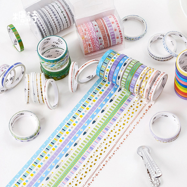 10pcs/set Black Foiled Washi Tape Japanese Paper DIY Planner Masking Tape Adhesive Tapes Stickers Decorative Stationery Tapes 1