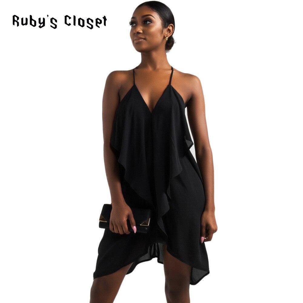 69c88e7266 Ruby's Closet women chiffon dress Summer solid black loose asymmetrical  halter draped sexy ladies party wear