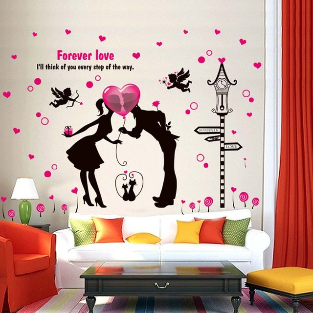 Romantic Wedding Room Couples Bedroom Wall Can Remove The Decorative Wall  Stickers Posted On The Wall