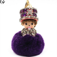 Wearing a hat qiqi sat down on a rabbit hair ball fashion accessories FANGY17080608