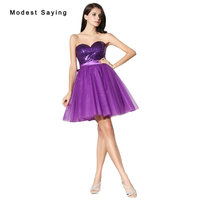 Sexy Purple Ball Gown Sweetheart Short Sequined Homecoming Dresses 2017 with Bow Formal Girls Mini 8th grade Graduation Gowns