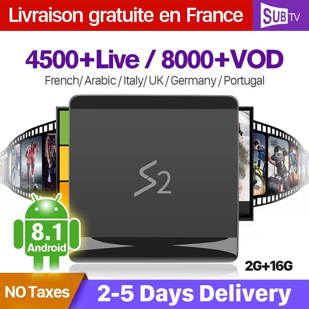 SUBTV Arabo Francia IPTV Italia Full HD S2 Android 8.1 2 + 16G RK3229 Francese Turchia Portogallo Abbonamento IPTV 1 anno SUBTV Box
