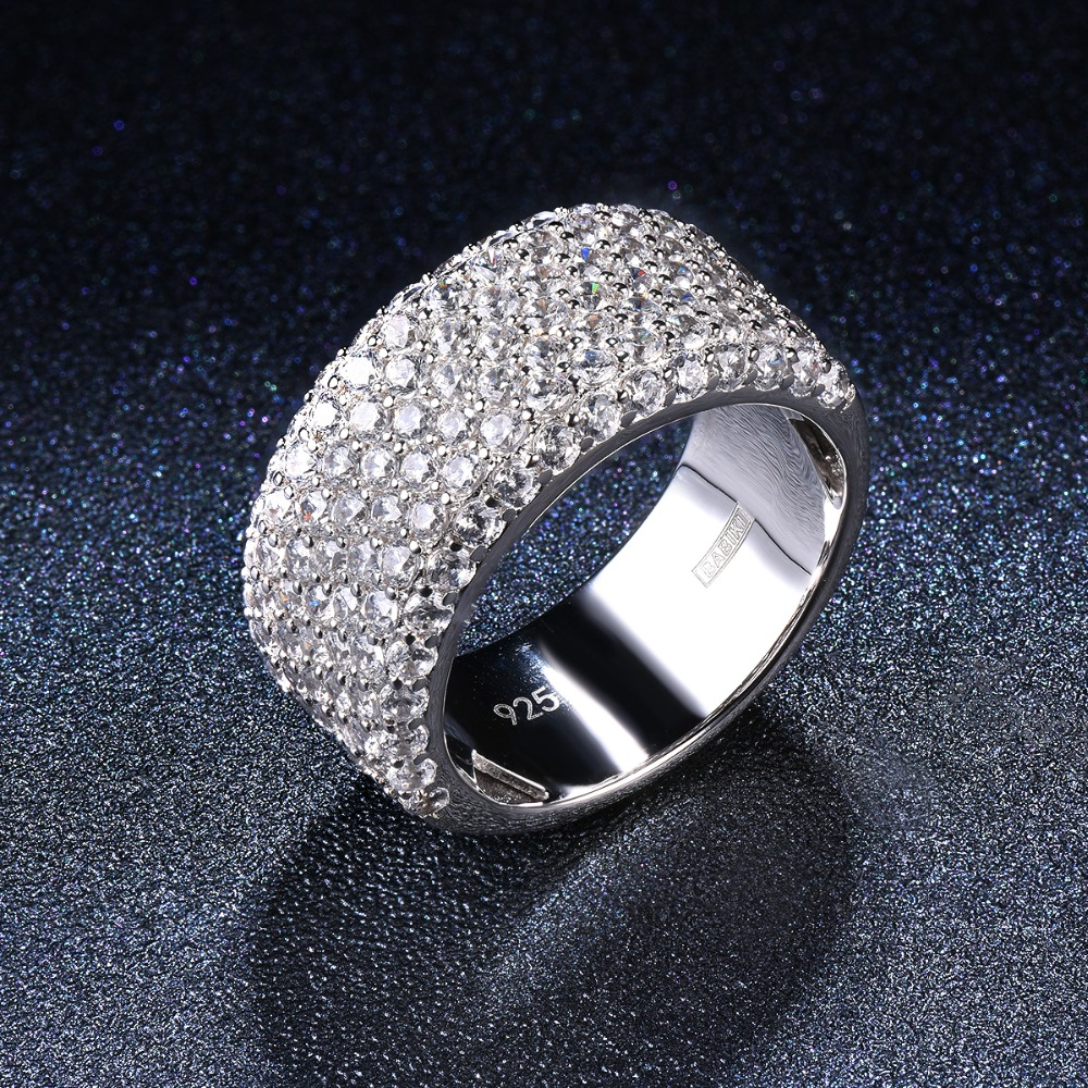 REAL 925 Sterling Silver Ring Cluster Cubic Zirconia CZ Band Rings For Women Engagement Wedding Bridal Fine Diamond Jewelry