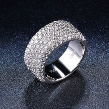 REAL 925 sterling silver ring cluster cubic zirconia CZ band rings for women engagement wedding bridal fine diamond jewelry roland rh 300v