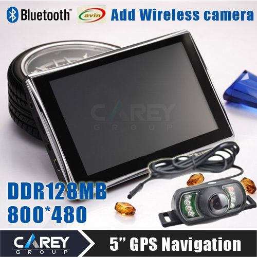 5 inch Gps navigation Bluetooth AV IN DDR 128 MB 4GB CE6.0 800*480 Wireless review camera