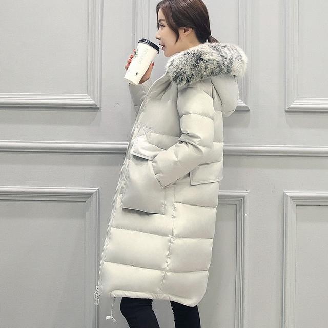 2016 Chegadas Novas Mulheres Casaco de Inverno Para Baixo Grande Gola De Pele Jaqueta de médio Longo Fino Outerwear Grosso Artificial de Pele De Raposa Naturais S-4XL