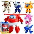 6 pçs/set grande ABS Super asas deformação Jet robô figuras de ação Super asa de transformação de Brinquedos para as crianças presentes Brinquedos