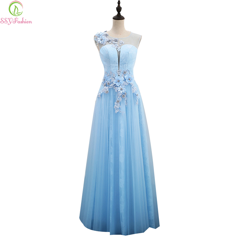 Robe De Soiree SSYFahion New Sweet Light Blue Lace Flower Evening ...