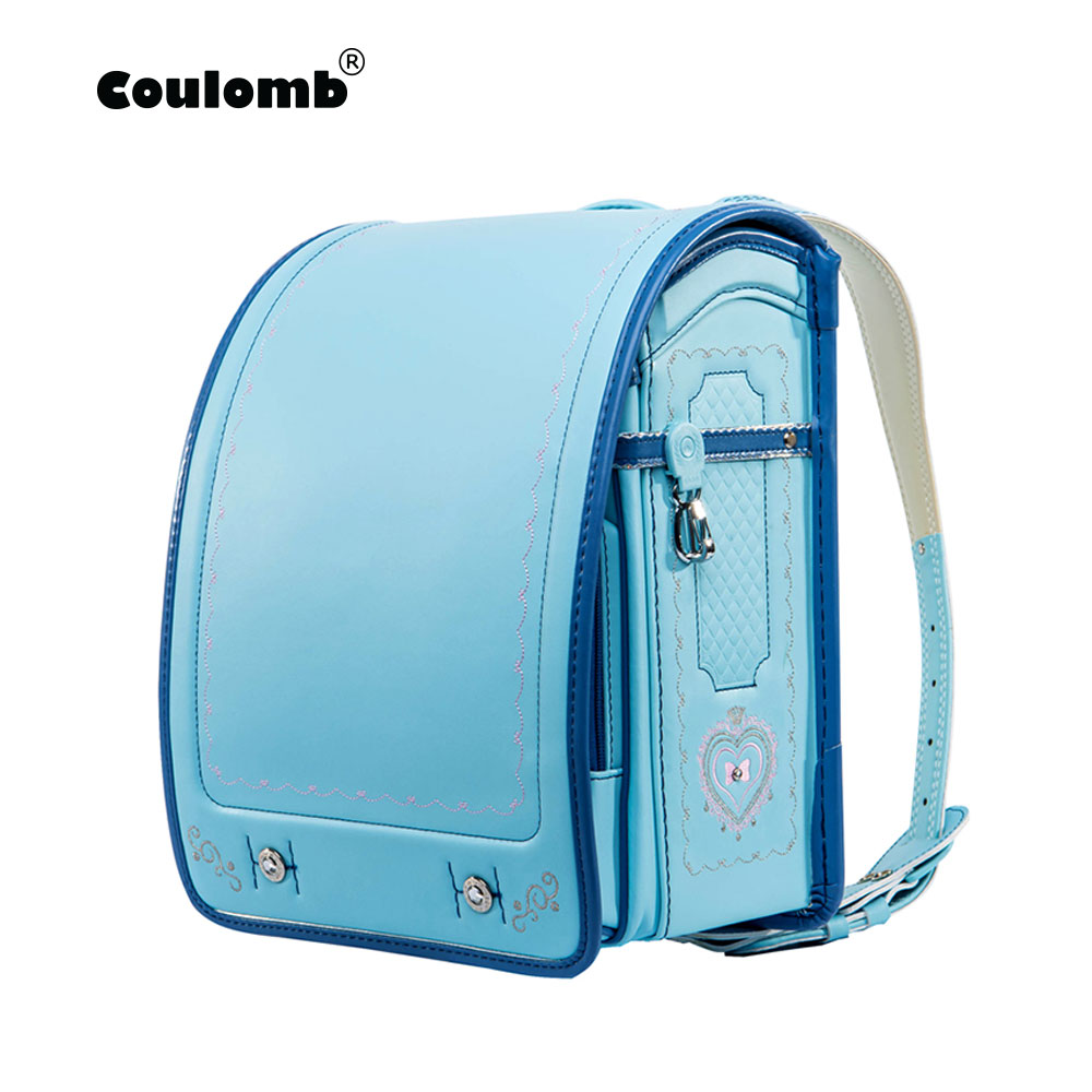 Coulomb Children School Bag For Boy And Girl Backpack PU Hasp Japan Randoseru Bag Kids Orthopedic