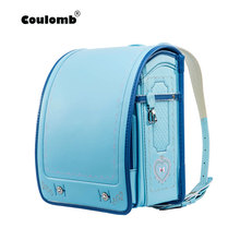 Coulomb Children School Bag For Boy And Girl Backpack PU Hasp Japan Randoseru Kids Orthopedic Bookbags Mochila Escolar New