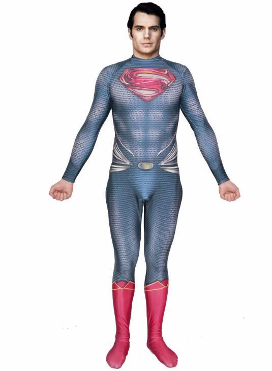3D Printing Superman Costume Spandex Steel Superman Cosplay Zentai Suit