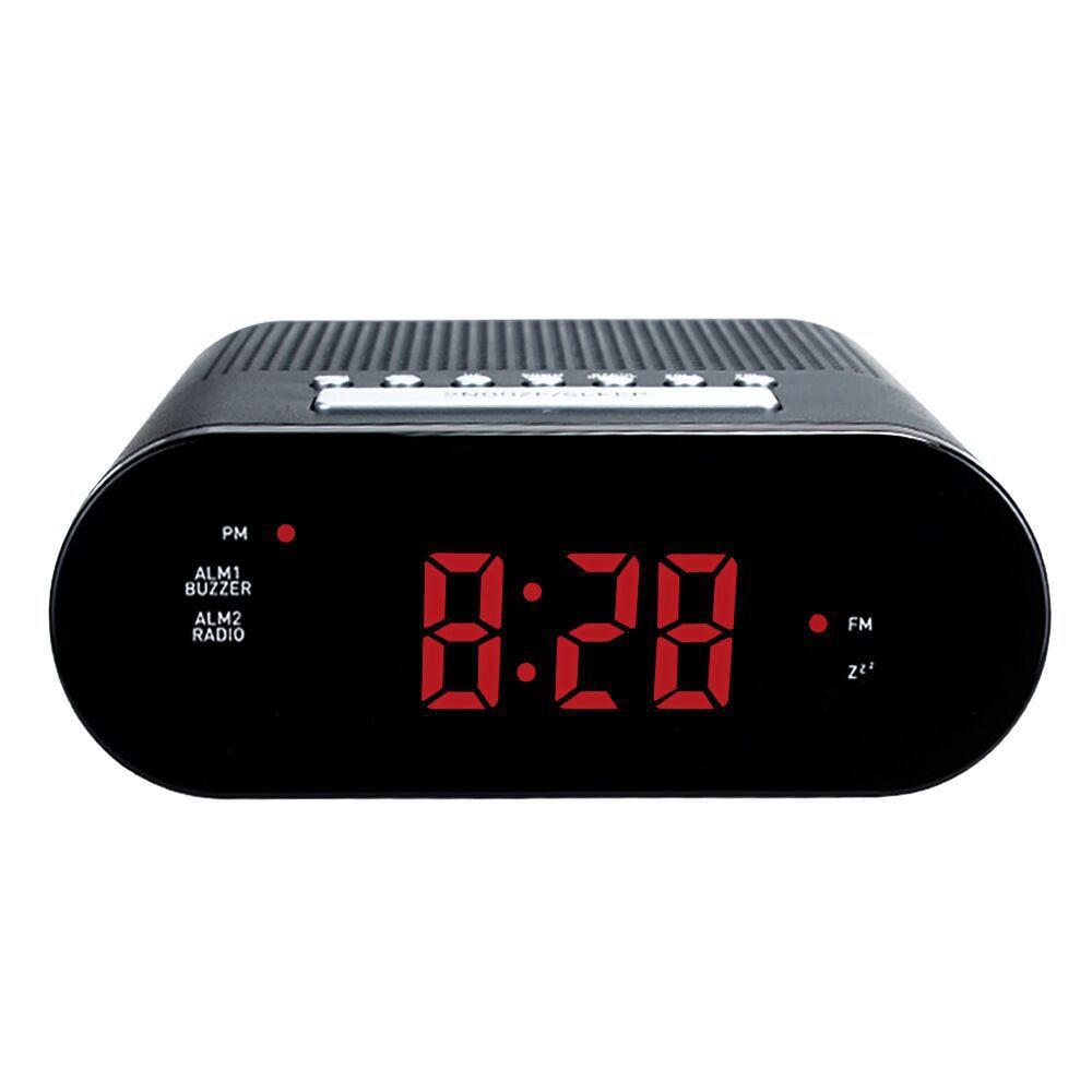 NEW LED Digital FM Radio Clock Dual Alarm Snooze Buzzer Sleep Timer Power Adaptor Battery Backup Table Watch Desk Time Clocks