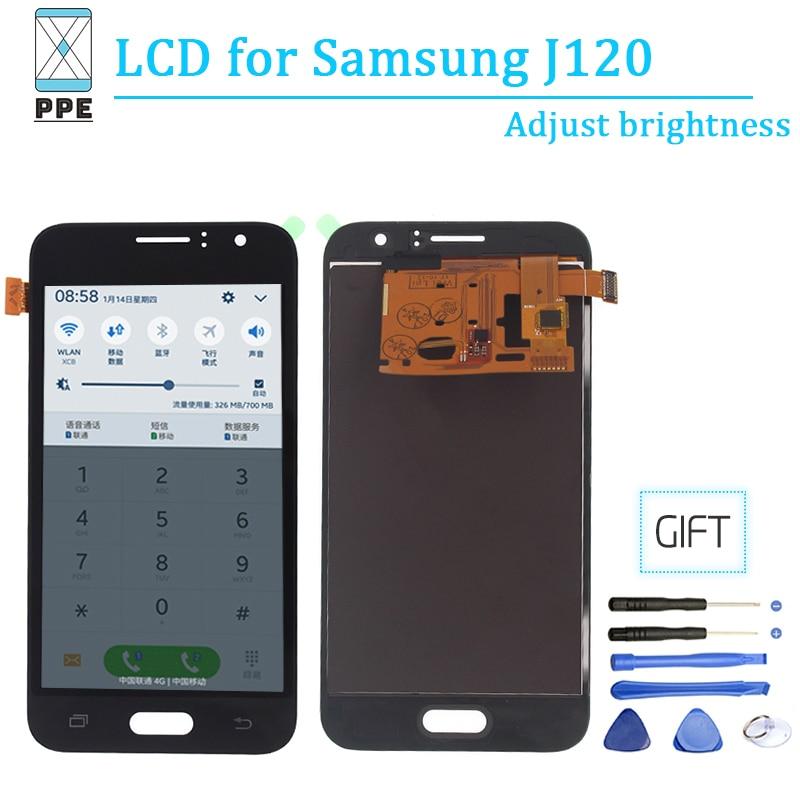 Ajustar el brillo de pantalla de Lcd para Samsung Galaxy J120 J1 2016 SM-J120F J120H/DS J120M táctil Lcd pantalla digitalizador de Panel la Asamblea
