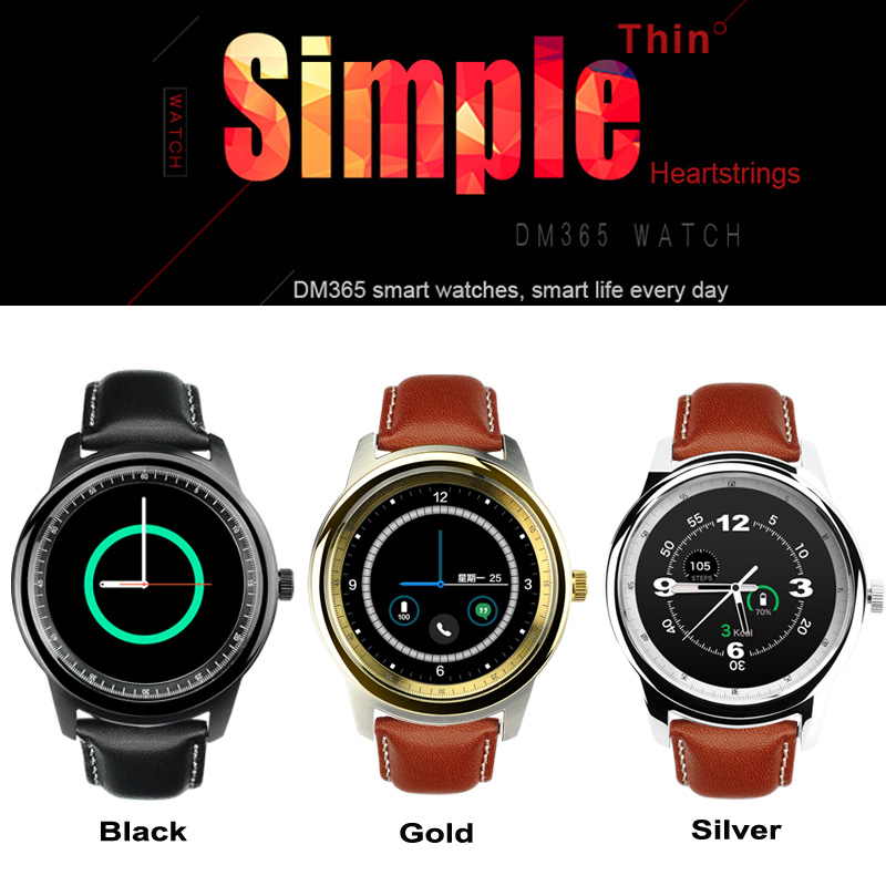 Luxury Smart Watch DM365 Leather Band Wrist Watches Full HD IPS Screen Bluetooth Waterproof Smartwatch for IOS Android Phone