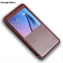 SemgCeKen luxury original leather case for samsung galaxy note4 note 4 pu holster view flip window retro  cell phone coque cover