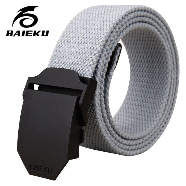 New 2017 Belts Men High Quality Canvas Belt Casual belts fashion Plastic Automatic Buckle pure color