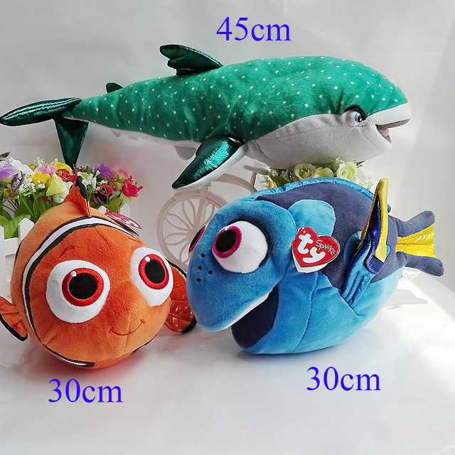 b8741c89046 3PCS  LOT 30cm Nemo 45cm Ty Destiny Shark 30cm Dory Plush Toy 2016 Pixar  Movie