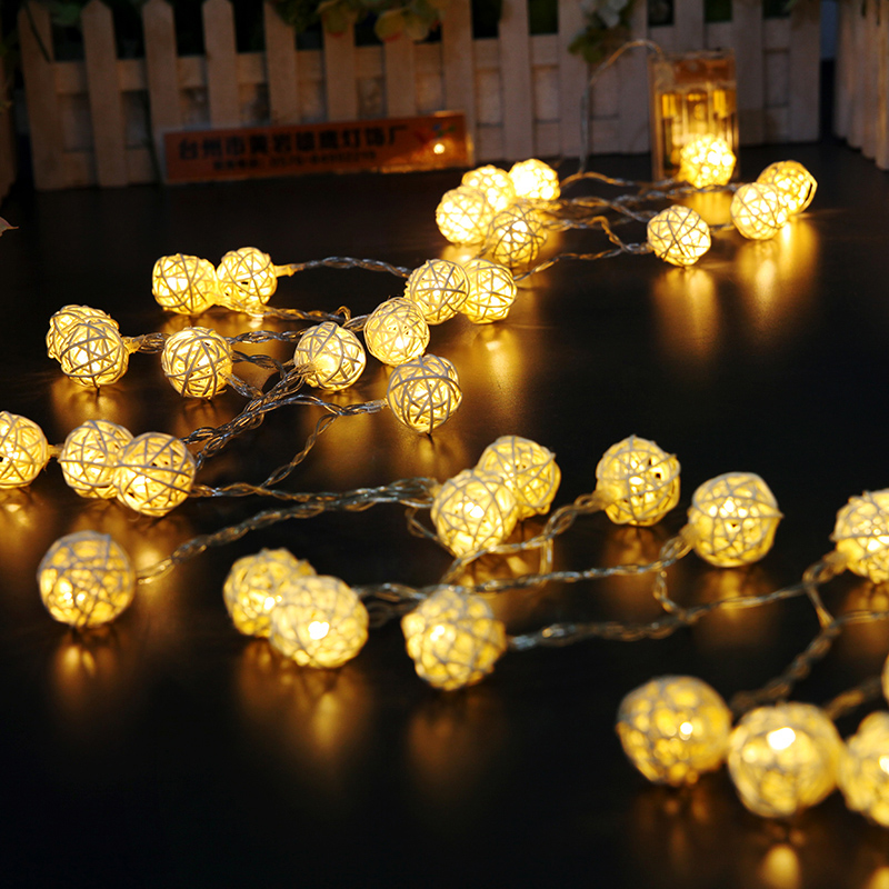 Led 2m 20leds Xmas Holiday Christmas Light 2M Fairy Rattan Ball String Lamp White Warm Colorful Decoration for Xmas New Year Wedding festival Party (32)