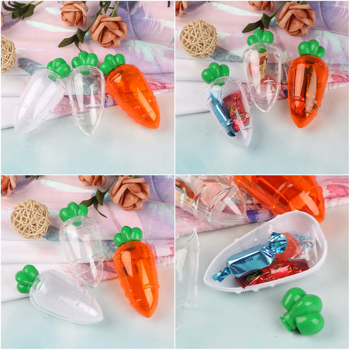Plastic Lovely Carrot Candy Box Wedding Favor Box Baby Shower Kids Birthday Party Gift Box Christmas Gift Packaging
