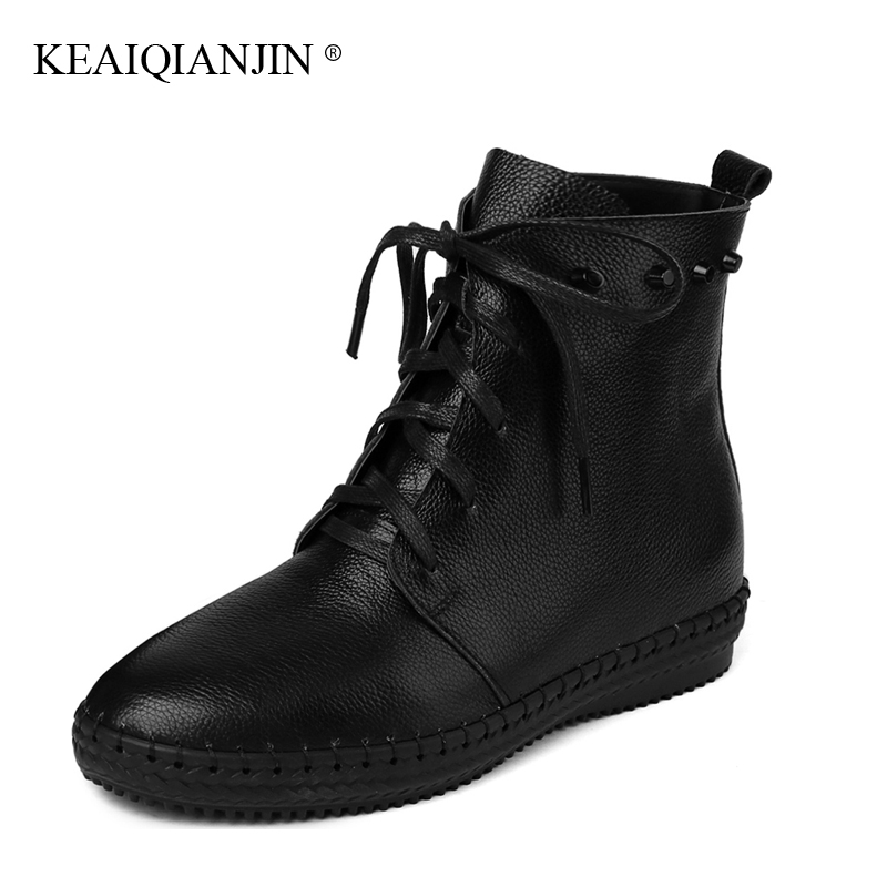 KEAIQIANJIN Woman Genuine Leather Ankle Boots Lace-Up Black White Rivet Plush Boots 2017 Autumn Winter Fashion Flat With Shoes high quality full cow skin genuine leather flat casual ankle boots women 2016 black white lace up fashion autumn walking shoes