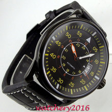 43mm Planca black dial PVD case date adjust yellow numbers Automatic movement Men's Watch