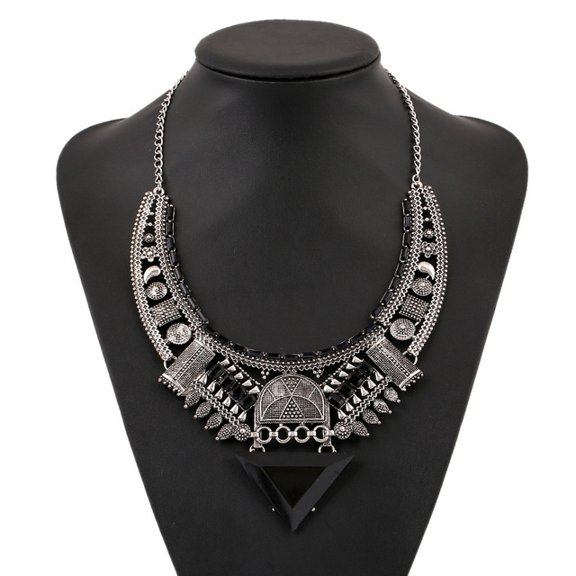 LUFANG 2019 Fashion Black Silver Color Vintage Choker Necklace Bohemian Big Gem Punk Statement Power Maxi Necklace Women Jewelry